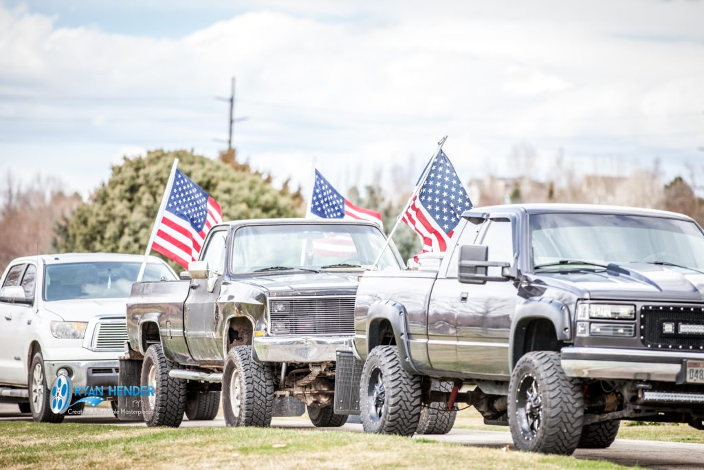 flag on truck funeral photography utah Ryan hender films