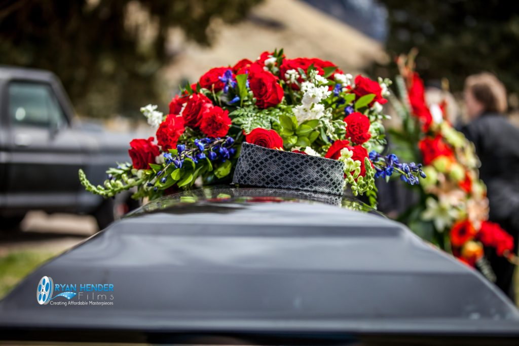 casket in final resting place funeral photography utah Ryan hender films