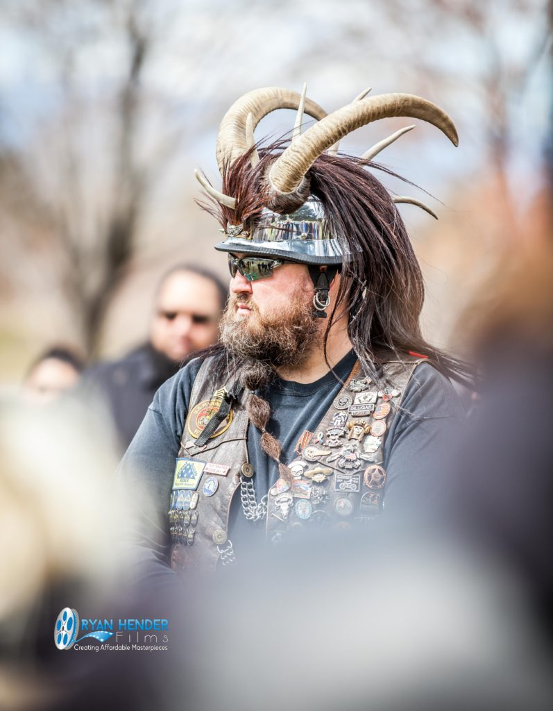 biker with horns on helmet funeral photography utah Ryan hender films