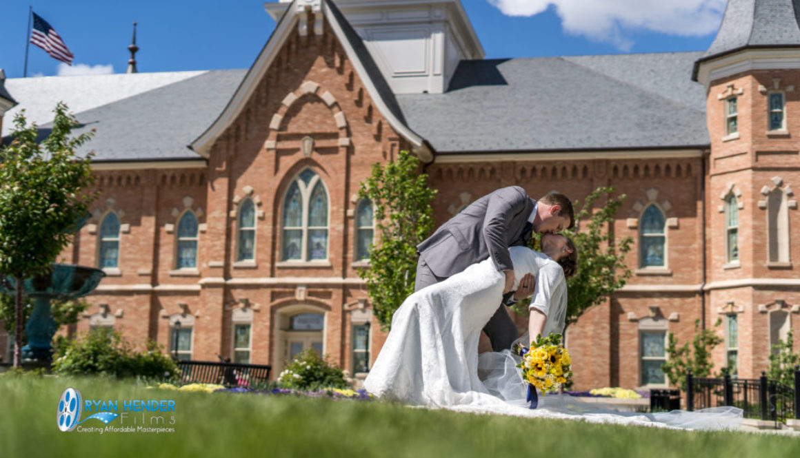 groom dipping bride at provo city centre temple utah