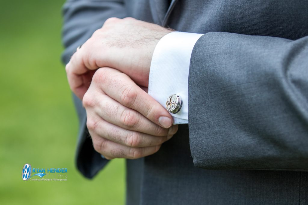 salt lake city utah temple wedding photography groom showing gear cuff links