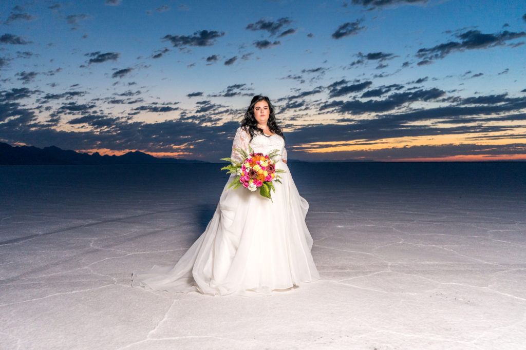 bonneville salt flats sunrise bridal photo shoot