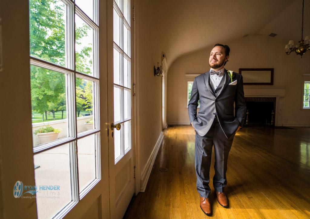 Memorial House at Memory Grove Park wedding photography groom