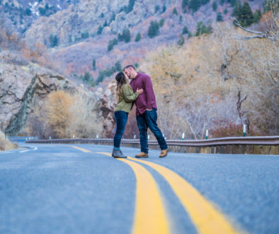 bride and groom in big cottonwood canyon engagement photo shoot