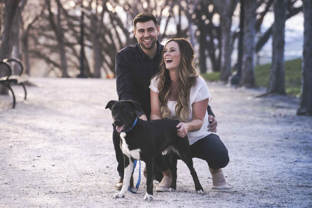 couple with their dog engagement photography
