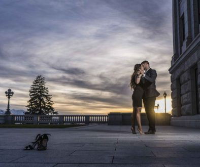 couple dancing at sunset engagement photography